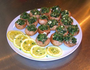 """Greek"" Small Bite Spinach Stuffed mushrooms"